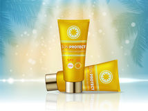 Sunblock cosmetic products ad. Vector 3d illustration. Sunblock cream bottle template, sun protection cosmetic products Royalty Free Stock Photography