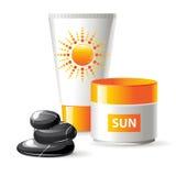 Sunblock cream. 2 sunblock creams and spa stones Royalty Free Stock Image