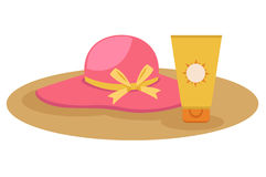 Sunblock cream with hat  Stock Images