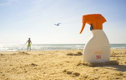 Sunblock Cream With Sun Protection Factor Or SPF 50 On Beach San Royalty Free Stock Images