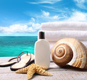 Sunblock lotion and towels and ocean Stock Photo