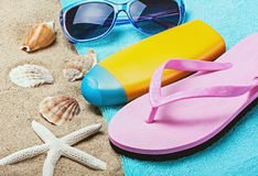 Sunblock and stuff for the beach Stock Image