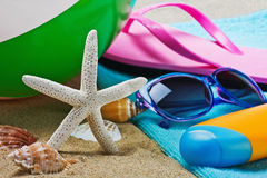 Sunblock and stuff for the beach Stock Photography