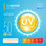Sunblock suncare strong protection. SPF solution design. Sunblock SPF gold oil drop strong protection. UV protection solution suncare design. SPF gradation Stock Photo