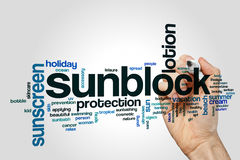 Sunblock word cloud. Concept on grey background Royalty Free Stock Image