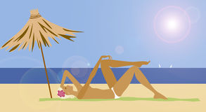 Sunburn. Girl relaxing on the beach Stock Illustration