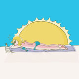 Sunburn. A woman gets sunburned while laying out at the beach Royalty Free Stock Photography