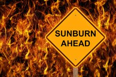 Sunburn Ahead Warning Sign Stock Image