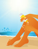 Sunburn on the beach. Illustration, AI file included Royalty Free Stock Photography