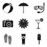 Sunburn icons set, simple style. Sunburn icons set. Simple set of 9 sunburn vector icons for web  on white background Stock Photos