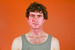 Sunburned Sweaty Man Royalty Free Stock Photography