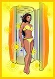 The sunburnt woman near a sun deck Stock Photos