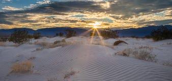 Sunburst över sanddyn arkivfoton