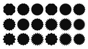 Sunburst стикер Винтажные стикеры продажи, разрыванная кнопка promo лучей и взрывы солнца оценивают изолированные значки форм век бесплатная иллюстрация
