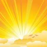 Sunburst. Sun and clouds background illustration vector illustration