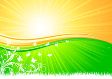 Sunburst. Background with Butterfly, illustration Royalty Free Stock Photo