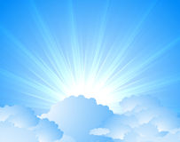 Sunburst. Art blue sky background Stock Image