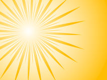 Sunburst. Yellow background, vector illustration Stock Photo