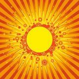 Sunburst abstract background. Bright orange and yellow sunburst background with artistic designs vector illustration