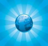 Sunburst azul da terra do planeta Foto de Stock Royalty Free