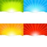 Sunburst Backgrounds. 4 Sunburst Backgrounds, Vector Illustration Stock Images