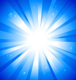 Sunburst on blue. Background with water drops Stock Photography