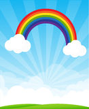 Sunburst and blue sky and rainbow background with copyspace vect Royalty Free Stock Photos