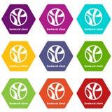 Sunburst chart icons set 9 vector. Sunburst chart icons 9 set coloful isolated on white for web Royalty Free Stock Photography