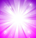Sunburst on colorful background with water drops. Sunburst on pink and purple background with water drops Stock Photography