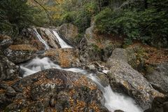 Sunburst Falls. North Carolina. Beautiful cascading waterfall right along NC 215 just a few miles north of the Blue Ridge Parkway. Seen here with autumn colors royalty free stock photography