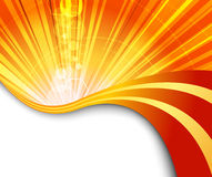 Sunburst flaring orange background Stock Photos