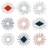 Sunburst graphics. Set of hand-drawn sunburst design element graphics Stock Image