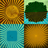 Sunburst Grunge tła Retro Textured set Fotografia Royalty Free