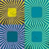 Sunburst Grunge tła Retro Textured set Obrazy Royalty Free