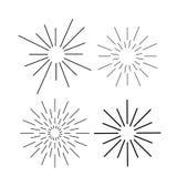 Sunburst ink vector set. Vintage and hipster sun rays frames collection. stock illustration
