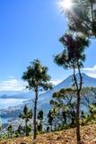 Sunburst, Jeziorny Atitlan & 5 volcanoes patrzeje przez kukurydzy pola, Gwatemala obrazy royalty free