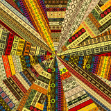 Sunburst made of patchwork fabric with ethnic motifs Stock Photo