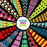 Sunburst made of patchwork fabric with ethnic motifs vector illustration