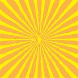 Sunburst med strålen av ljus orange yellow för bakgrund Arkivbilder