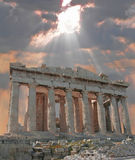 Sunburst over the Acropolis royalty free stock photography