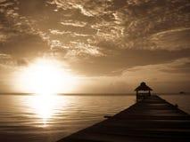 Sunburst over Belize stock photo