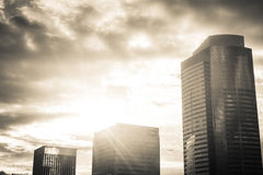 Sunburst over high rise buildings. Black and white image of high rise buildings Stock Image