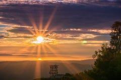 Sunburst over San Francisco bay as seen from Mt Diablo summit Stock Photos