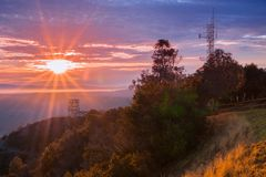 Sunburst over San Francisco bay as seen from Mt Diablo summit Royalty Free Stock Photography