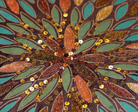 Sunburst Pattern of Sequins, Beads and Feathers Royalty Free Stock Photography
