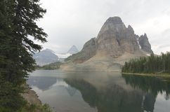 Sunburst Peak with Mount Assiniboine Smoke from fires Royalty Free Stock Images
