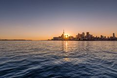 The Toronto skyline at sunset royalty free stock images