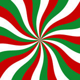Sunburst red, green and white vector background. Abstract swirl candy cane graphic design for wallpaper, banner and backdrop Stock Image