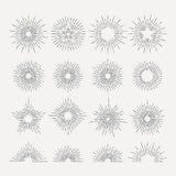 Sunburst retro icon set. Line drawing of sunshine. Abstract vector illustration. Radial abstract sunburst, drawing linear starburst template Stock Image