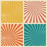 Sunburst Retro Textured Grunge Background Set Stock Image
